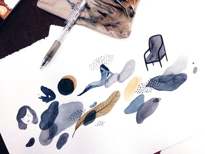doodle plants pattern model drawing painting watercolor illustration