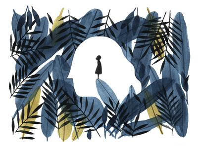 Memories memories portrait girl silhouette design foliage leaves drawing painting watercolor illustration