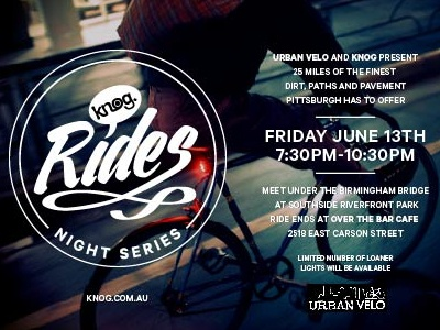 Knog Nightrides Pittsburgh promotional typography layout