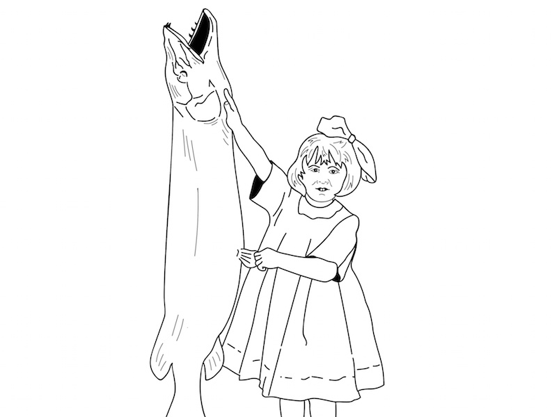 Girl And Fish Drawing Copy 2 illustration