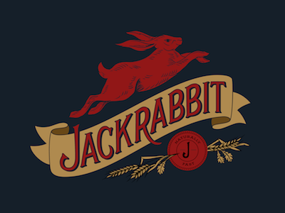 Jackrabbit  wheat rabbit organic natural food truck restaurant branding illustration hand lettering lettering