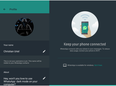 A ui design of whatsapp dark mode made by me app design illustrations ux ui