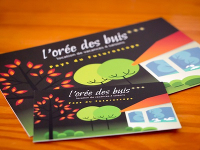 Business card and postcard for a cottage gravit.io gravit cottage holiday gîte postcard business card