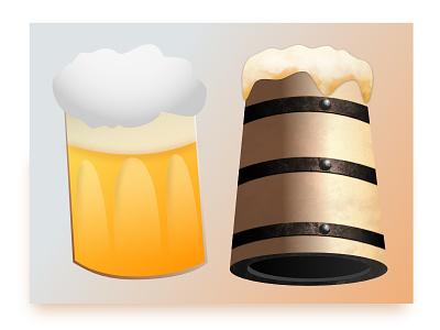 Beer illustration Befor / After work in progress before after affinity designer vector illustration beer