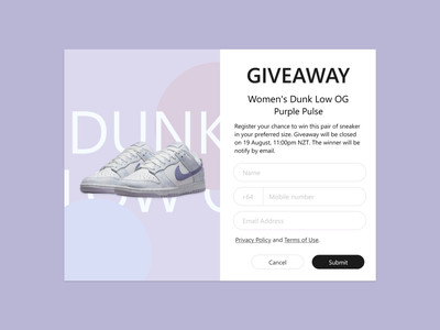 Daily UI - Giveaway sign up sneakers giveaway signup sign up daily ui 001 daily ui 01 dailyui001 dailyui01 daily ui challenge dailyuichallenge daily ui dailyui ui design uidesign design ui