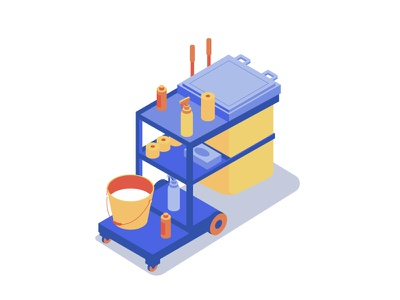 Cleaning cart cart isometric clean