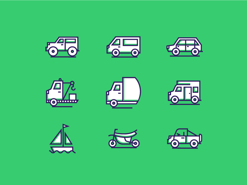 Transportation Icons flat line truck car transportation icons