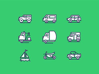 Transportation Icons flat line truck car transportation icons