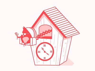 Brake Time 3 red line illustartion bird cute clock brake
