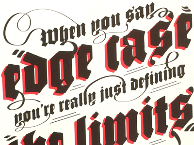 Edge Cases analog facebook risograph blackletter lettering illustration type poster