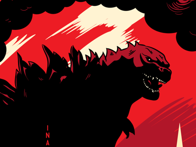 Godzilla Hack facebook godzilla screenprint illustration