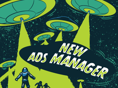 New Ads Manager...In Spaaaaaaaace! space print illustration facebook