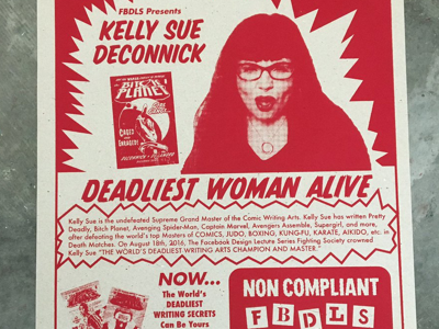 Kelly Sue DeConnick Poster - Facebook Design Lecture Series facebook design lecture series poster comics comic facebook fbdls screen print screenprint