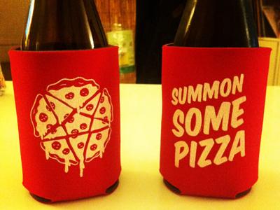 Pizzagram Beer Koozie pizza evil ritual pentagram red beer koozie