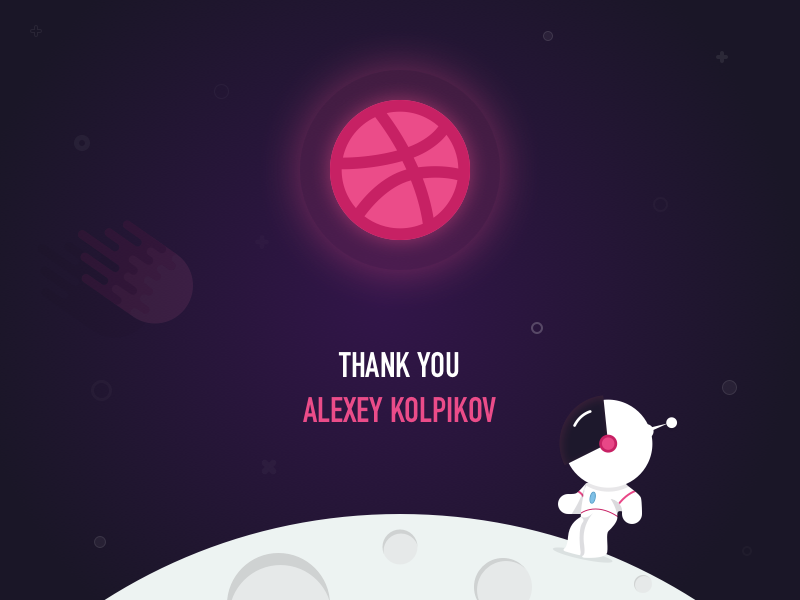 Hello Dribbble! astronaut comet stars invite thanks moon spaceman dribbble shot first debut