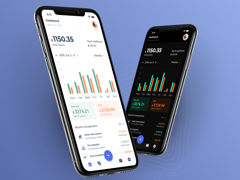 Dashboard for crypto wallet using as a team dashboard chart wallet crypto app finance ios dark theme