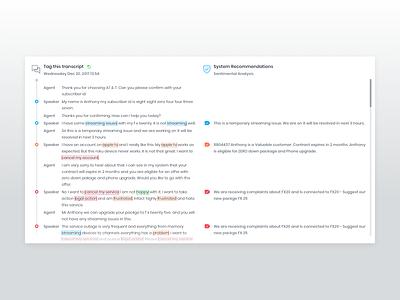 Transcript chat transcript calendar user keyword report website data dashboard analytics sentiment chart