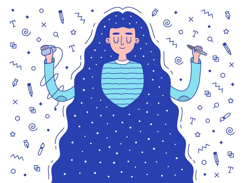 Flat designer girl design tool space character design emblem illustrator designer girl flat vector illustration art print poster design