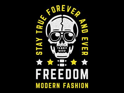 Skull print. grunge stay freedom star true yellow glasses skull modern fashion art illustration vintage t-shirt design retro emblem vector print poster design