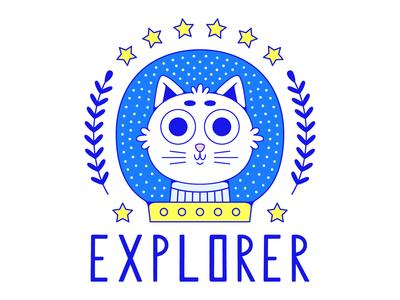 Explorer emblem. leaf laurel explorer star helmet space cosmonaut spaceman astronaut cat typography logo art t-shirt design illustration emblem vector print poster design