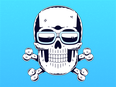 Cool skull. blue gradient illustration t-shirt design skull and crossbones emblem logo cool logo poster print line art engraved monochrome retro vintage halftone vector glasses cool skull