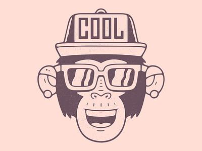 Cool monkey. face character logo black glasses dirty textured cap gorilla monkey rap hat chimp illustration vintage emblem vector poster design print