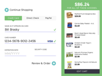 DailyUI 002 Credit Card Form for PeaPod