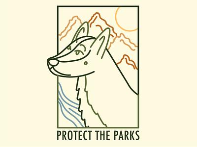 Dog and Landscape Line Design park parks illustrator stamp dog illustration procreate line design