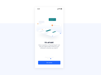 Onboarding Education isometric chat illustration onboarding ios