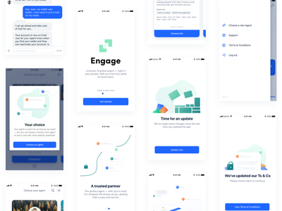 Customer app case study mobile menu message chat onboarding illustration modal layout gradients grid ui ios