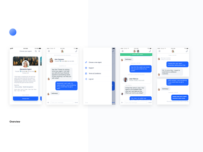 Customer feature overview chat onboarding mobile message grid layout interaction shadows ios design ui