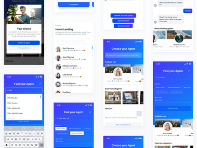Agent Selection Case Study chat message profile modal cards filters search mobile onboarding gradients shadows ios ui layout