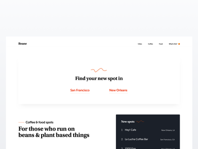 Food & Coffee discovery nav line link discovery landing  page website typography layout web