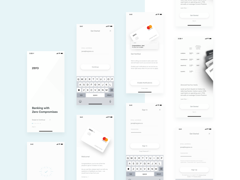 Zero — Welcome mobile notifications password get started welcome simple layout minimal clean ios app product ux ui login sign in sign up cards