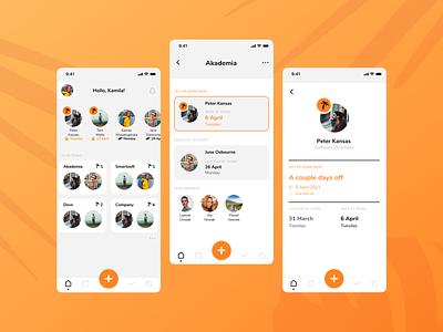 Holidaily 🌴   Teams   UX/UI Design team dashboard app ui ux mobile design