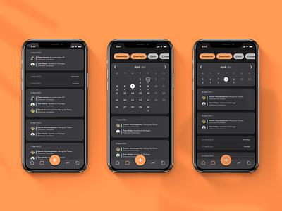 Holidaily 🌴   Calendar dark mode   UX/UI Design ui ux design mobile calendar app