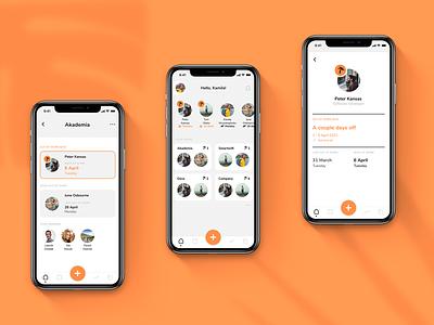 Holidaily 🌴   Teams   UX/UI Design application mobile ux mobile ui dark mode white orange employer employee company holiday app dashboard ui ux mobile design