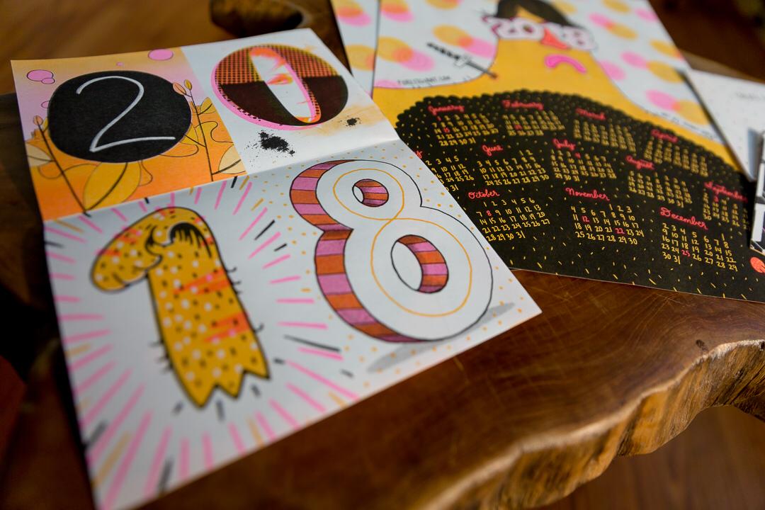 Holiday card / calendar wallcalendar printmaking risolve risograph risoprint riso illustration collab forest giant 2018 calendar holiday card