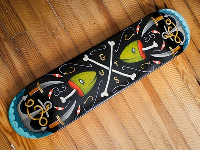 GUTS Skateboard Deck Painting skateboard painting fish bones guts knife rope anchor water bobbers hook black deck the walls exhibit robby davis