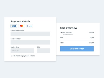 Minimal checkout form - Daily UI #002