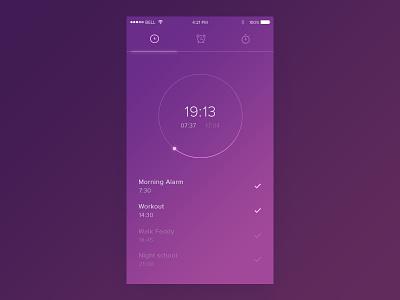 Dribbble 013 - Alarm Clock gradient timer days minute alarm clock time