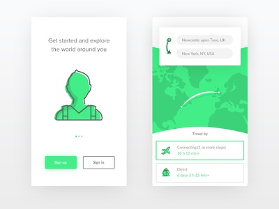 Dribbble 026 - Travel App illustration clean material flat icon boat plane iconography flight map travel