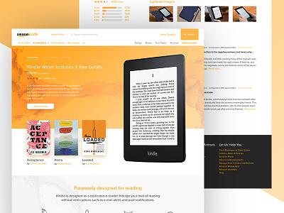 Amazon Kindle Redesign ux ui web design water orange clean books ecommerce tablet redesign kindle amazon
