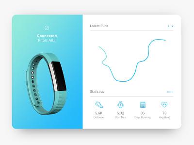 Running app ui blue colour gradient flat icons fitbit app running