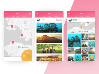 Travel Photography App flat design material map app photo photography travel