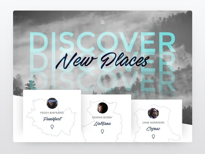 Travel Website - Discover New Places map photo clean photography travel location font type material
