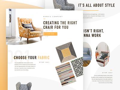 Harris Company fabric furniture chair orange minimal type website