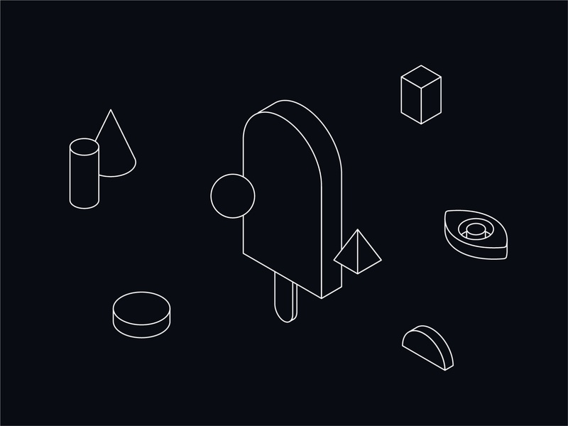 Oblik Illustration 01 floating abstract space parallelepiped sphere cone cylinder eye isometric illustration isometry isometric art isometric shapes ice cream black and white blackandwhite graphic design design oblik studio oblik