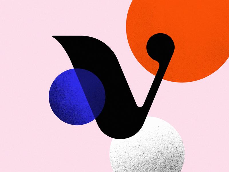 36 Days Of Type - V graphic design illustrator artwork 36daysoftype letter v 36 days of type 36daysoftype07 noise circles shapes type art art direction oblik studio oblik lettermark letter type design typographic typography art