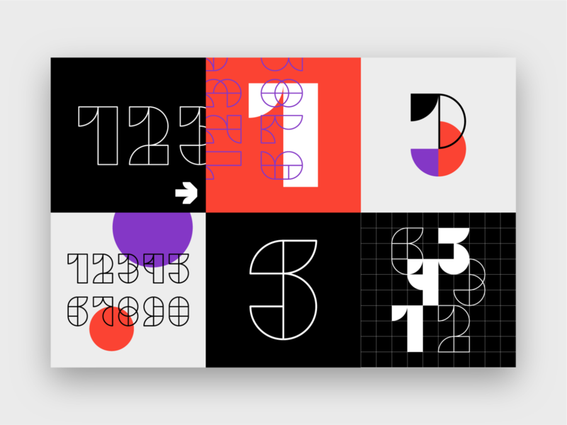 A B S T R A C T ᛫ F O N T flat typedesign design lineart outline line art font design font shapes visual design visual art type art art direction graphic design abstract type design numbers typography art plakat typography
